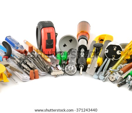 collection tools on white background - stock photo