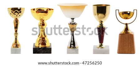 Collection Trophy isolated on white background - stock photo