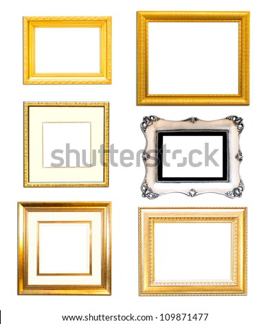 Collection Vintage picture frame, wood plated, white  background