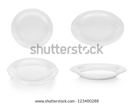 collection white plate on the white background - stock photo