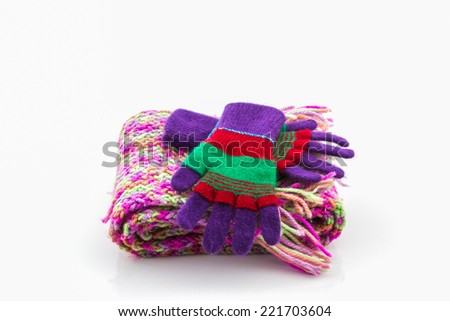 Collection Winter with accessories, Colorful woolen glove and scarf . - stock photo
