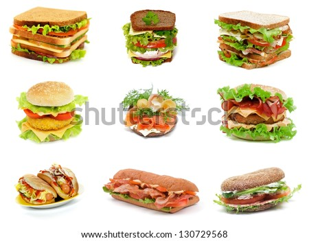 Collection with Ciabatta, Turkey Meat, Salmon, Ham and Sausage Sandwiches, Double Cheeseburger, Hot Dogs,  Bacon Burger and Salchichone Sandwich isolated on white background - stock photo