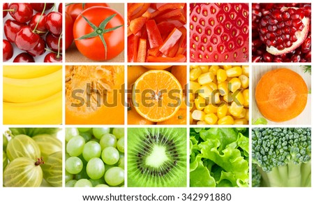 Collection with color fruits and vegetables. Food background
