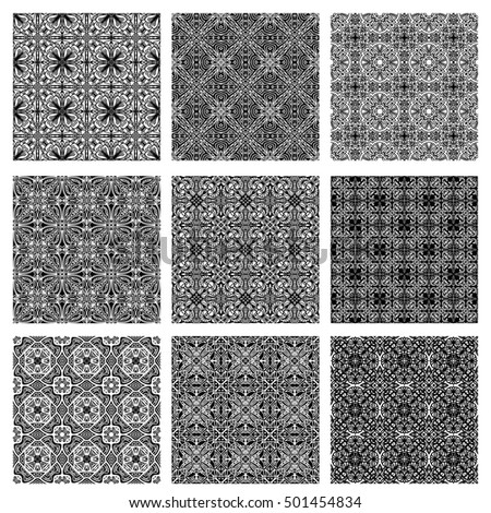 Collection with seamless tiling black and white ornamental textures isolated over white background