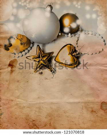 Collection with vintage Christmas ornament on white background
