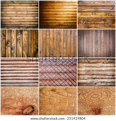 collection wood texture. background old panels - stock photo