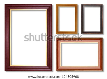 collection wooden  frame isolated on white - stock photo