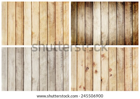 collection wooden plank wall texture for background, set 4