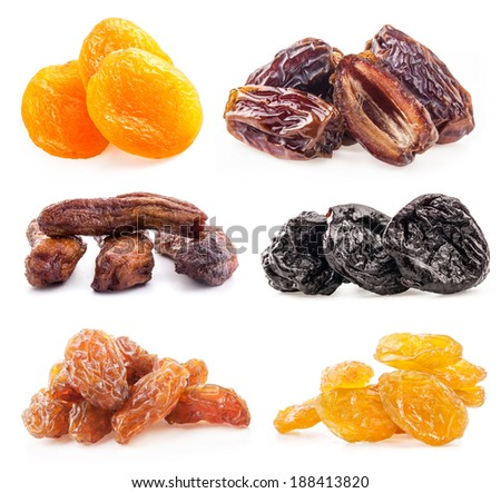 Collections of dried fruit on white background - stock photo