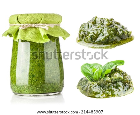 Collections of pesto sauce isolated on white