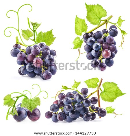 Collections of Ripe grapes with leaves, Isolated on white background - stock photo
