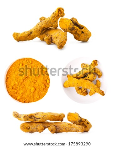 Collections of Turmeric root on white background - stock photo