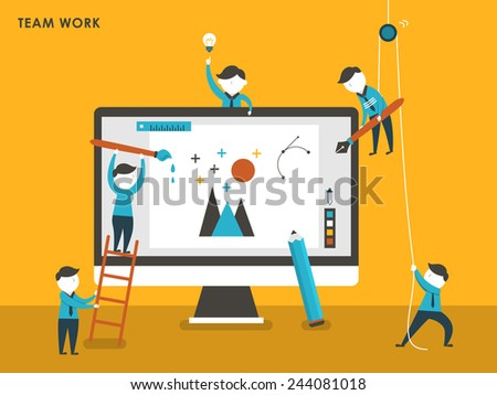 collective creation concept in flat design style - stock photo