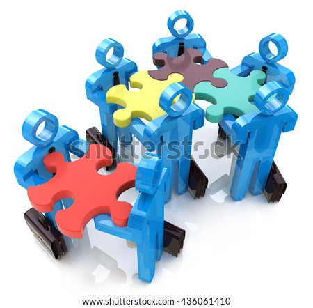 Collective works. Partnership. Teamwork in the design of information related to teamwork. 3d illustration - stock photo