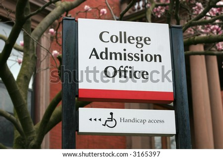 College Admission Office sign - stock photo