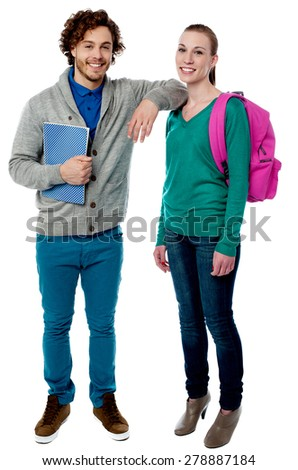 College boy resting his arm on friend shoulder - stock photo