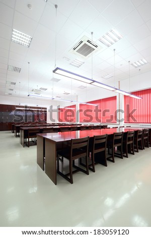 College classroom interior - stock photo
