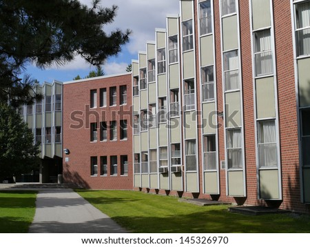 college dormitory building - stock photo