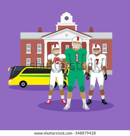 College football team concept flat design. Player american sport, uniform game, competition and athlete, victory and play, winner rugby, helmet and champion illustration. Raster version - stock photo