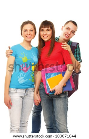College friends with books, isolated on white background