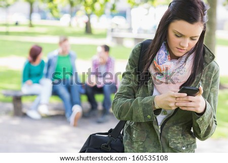 College girl text messaging with blurred students sitting in the park - stock photo