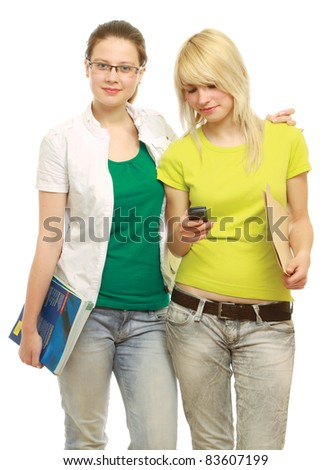 College  girls with mobile phone - isolated over white background