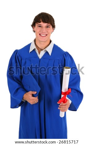 College Graduate Student Holding Certificate on Isolated Background - stock photo