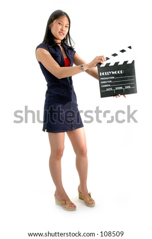 College intern movie director with slate