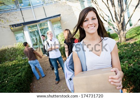 College: Move In Day For New Students At the Dorm - stock photo