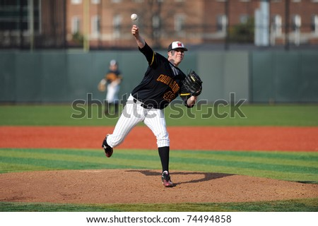COLLEGE PARK, MD - APRIL 2: University of Maryland baseball pitcher Danny Carroll delivers a pitch in the game against #7 Florida State April 2, 2011 in College Park, MD.