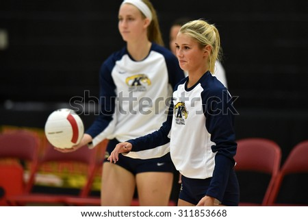 COLLEGE PARK, MD - AUGUST 28: Kent State libero/defensive specialist Sam Jones (2) shown during warm-ups prior to the NCAA women's volleyball game August 28, 2015 in College Park, MD.  - stock photo