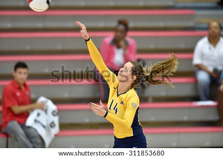 COLLEGE PARK, MD - AUGUST 28: Kent State setter Katarina Kojic (14) serves during the NCAA women's volleyball game August 28, 2015 in College Park, MD.