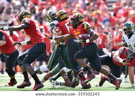 COLLEGE PARK, MD - SEPTEMBER 19:Maryland Terrapins running back Brandon Ross (45) carries the ball on a carry during a NCAA football game September 19, 2015 in College Park, MD.