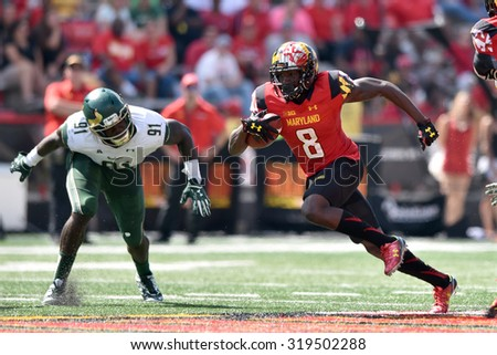 COLLEGE PARK, MD - SEPTEMBER 19: Maryland Terrapins wide receiver Levern Jacobs (8) cuts back after making a shirt catch during a NCAA football game September 19, 2015 in College Park, MD.