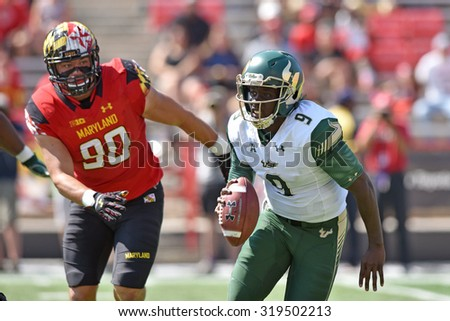 COLLEGE PARK, MD - SEPTEMBER 19: South Florida Bulls quarterback Quinton Flowers (9) rolls out to throw a pass during a NCAA football game September 19, 2015 in College Park, MD.