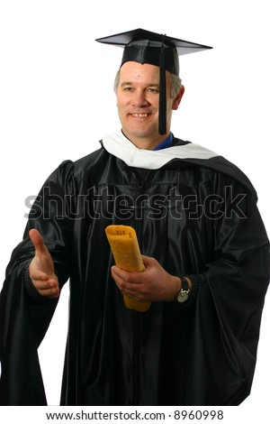 College professor offering congratulations - stock photo