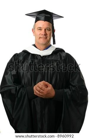 College professor wearing regalia - stock photo