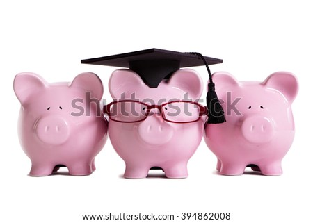 College student graduate graduation concept, education success, teaching, graduating, piggybank with glasses