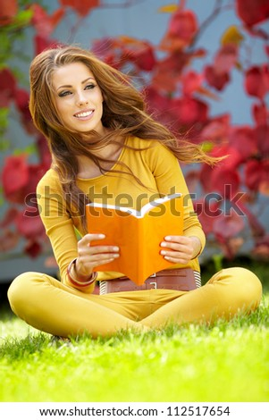 college student studying at campus - stock photo