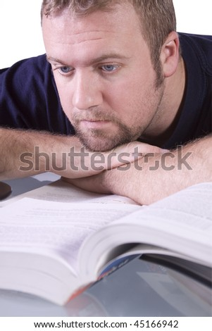 College Student  Studying for his Finals - Isolated Background