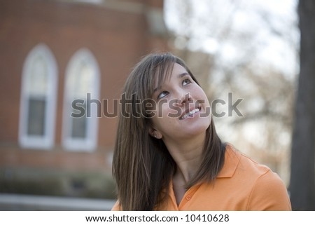 College student thinking about the future - stock photo