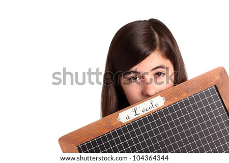 college student with a blackboard isolated on white - stock photo