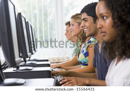 College students in a computer lab - stock photo