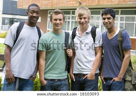 college students stood outside