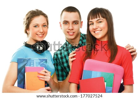 college students with books isolated on white