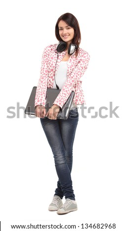 College university student woman. Happy smiling adult female student standing in full body length isolated on white background - stock photo