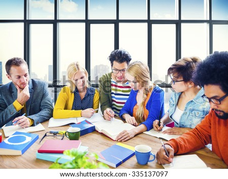 College University Students Studying Learning Concept