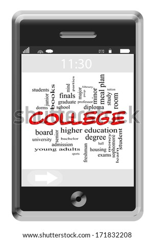 College Word Cloud Concept of Touchscreen Phone with great terms such as students, finals, diploma and more.