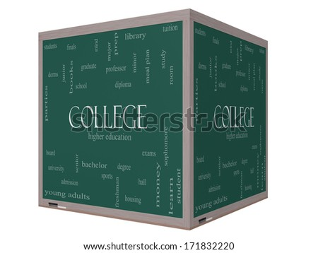 College Word Cloud Concept on a 3D Cube Blackboard with great terms such as tuition, study, student, major and more. - stock photo