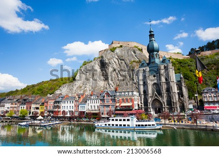 Collegiate Church of Our Lady near Meuse river - stock photo